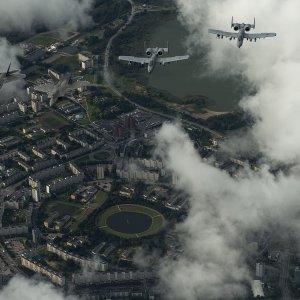 F-22 ja A-10 Viron taivaalla