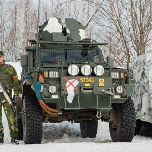 Ruotsalainen sotilas esikunta- ja viestikomppaniassa